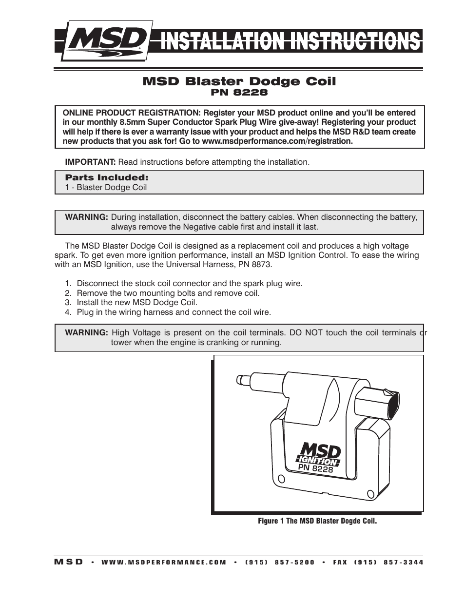 Msd 8228 Dodge Late Model Coil 2 Pin Installation User Manual Pages Engine Wiring Harness