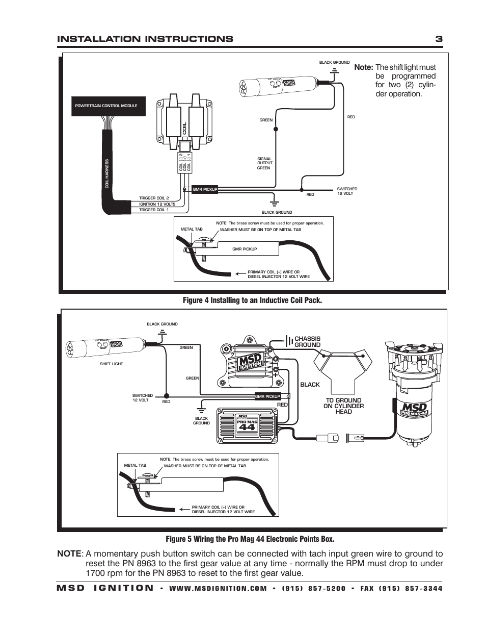 Figure 4 Installing To An Inductive Coil Pack Msd 8963 Digital Light Switch Wiring On A First Programmable Shift Installation User Manual Page 3