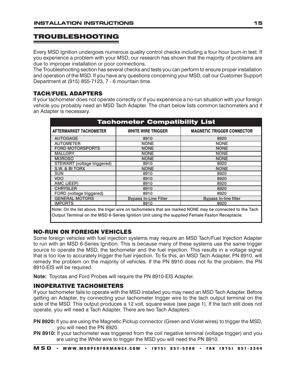 Troubleshooting Msd 6530 Digital Programmable 6al 2 Installation Tach Wiring Diagram User Manual Page 15 20