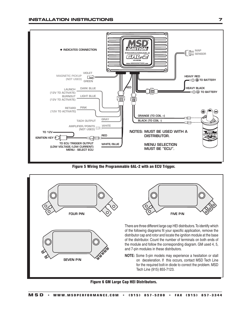msd 6530 digital programmable 6al 2 installation page7 msd 6al 2 wiring diagram gm hei distributor wiring diagram only  at alyssarenee.co