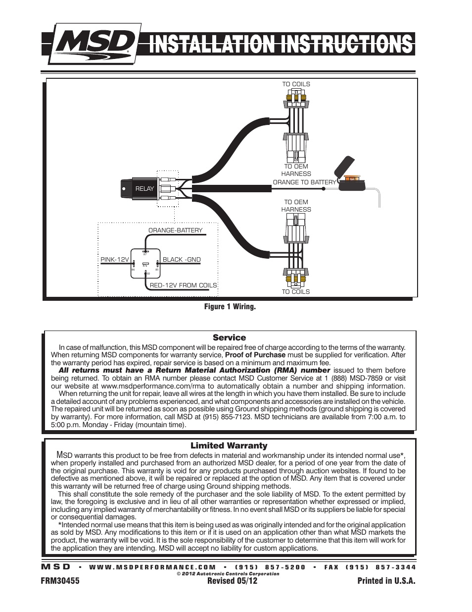Limited warranty, Service | MSD 88867 LS Coil Harness Installation User  Manual | Page 2 / 2