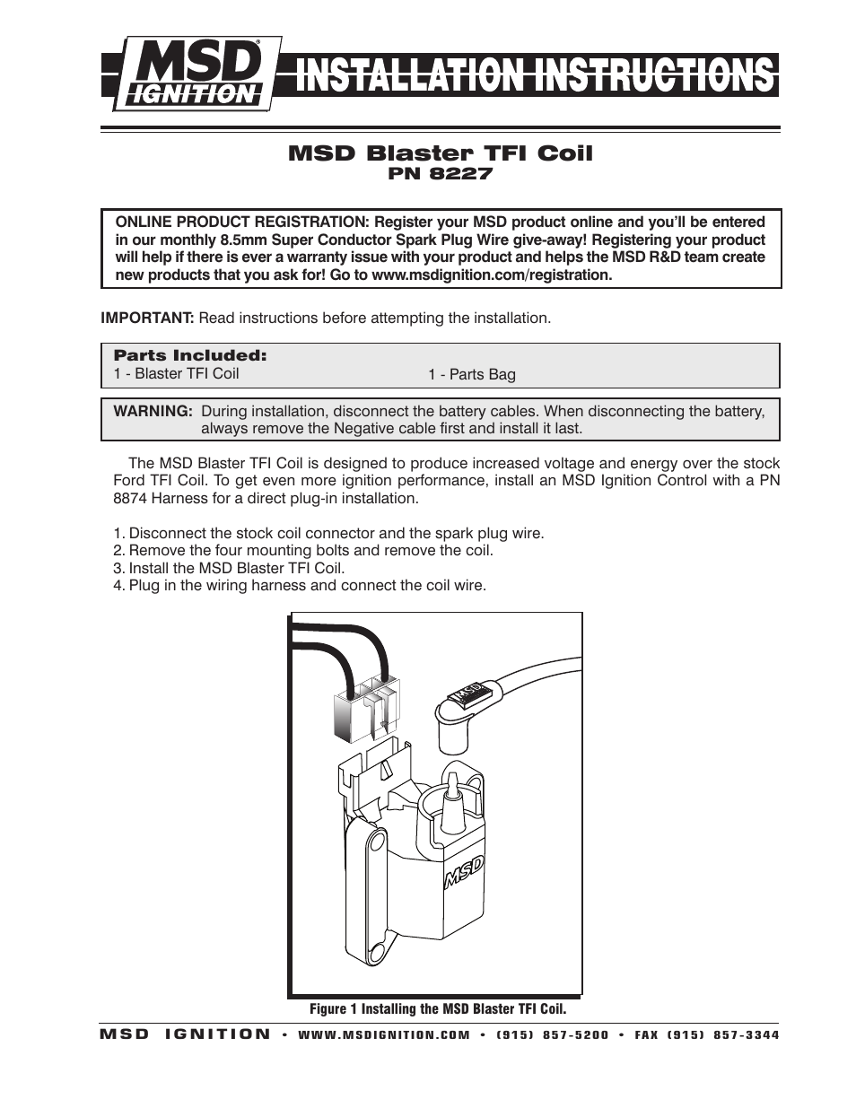 Msd 8227 Ford Tfi Coil  Hi Performance Installation User Manual