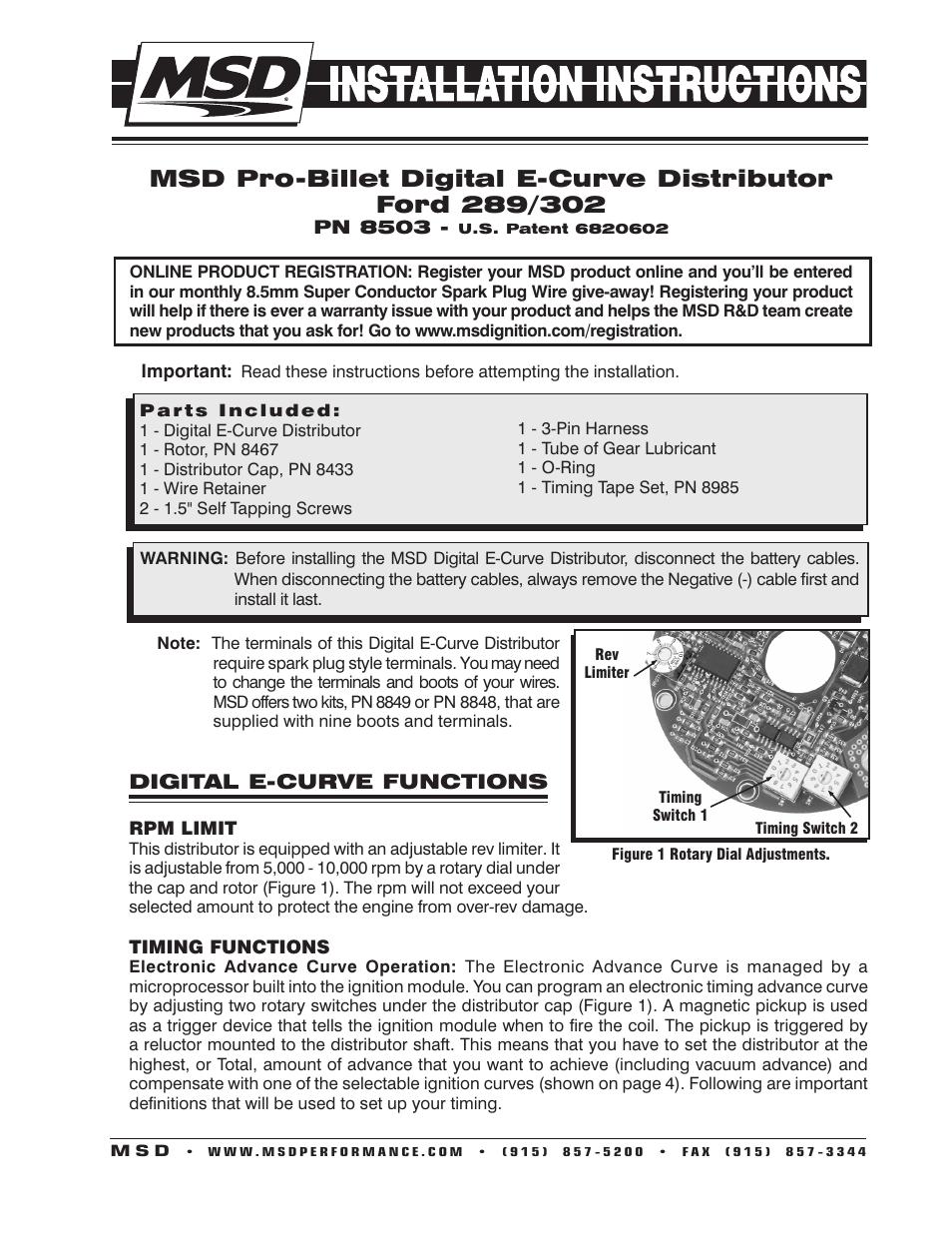 MSD 8503 Ford 289, 302 E-Curve Pro-Billet Distributor Installation