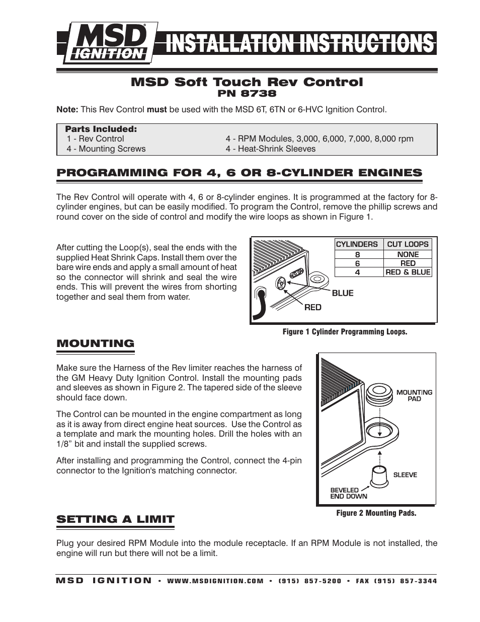 Msd 8738 Soft Touch Rev Control For Use With Msd 6t Installation User Manual
