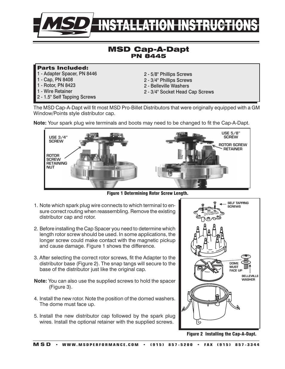 MSD 8445 Cap-A-Dapt Kit, Fixed Rotor Installation User Manual | 2 pages