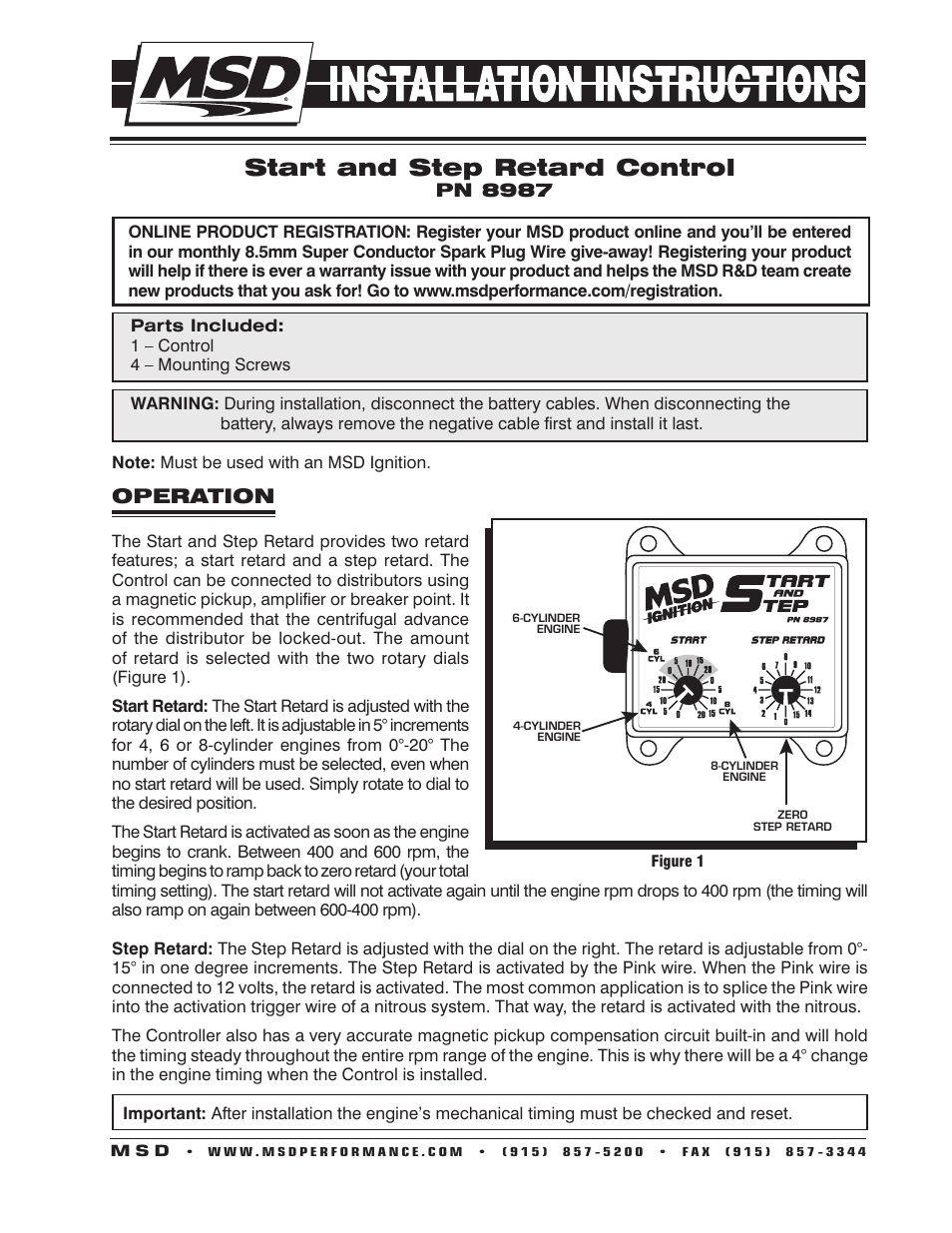 Msd 8987 Start And Step Timing Control Installation User Manual