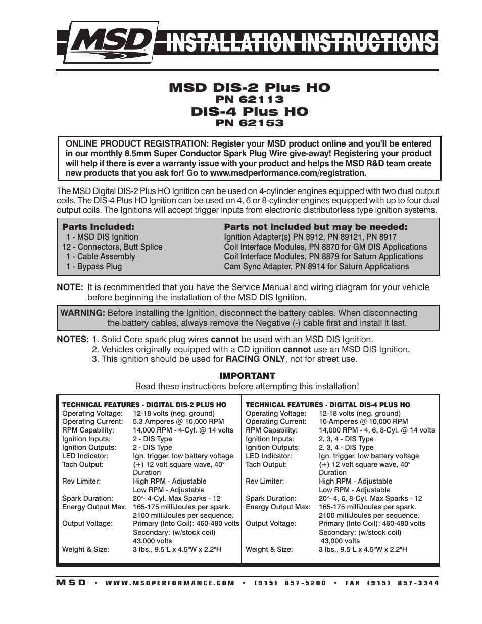 msd 62153 dis 4 plus high output installation user manual 16 pages
