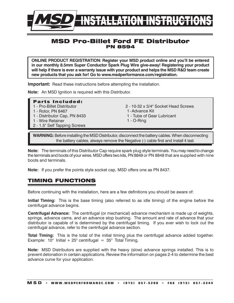 MSD 8594 Ford FE Pro-Billet Distributor Installation User