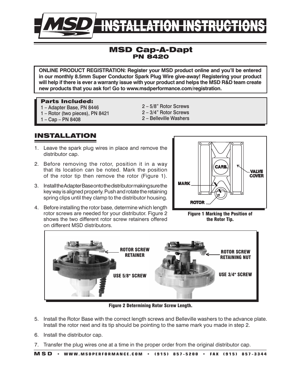 Distributor cap user manuals array msd 8420 cap a dapt kit for chevy v8 installation user manual 2 rh fandeluxe Images