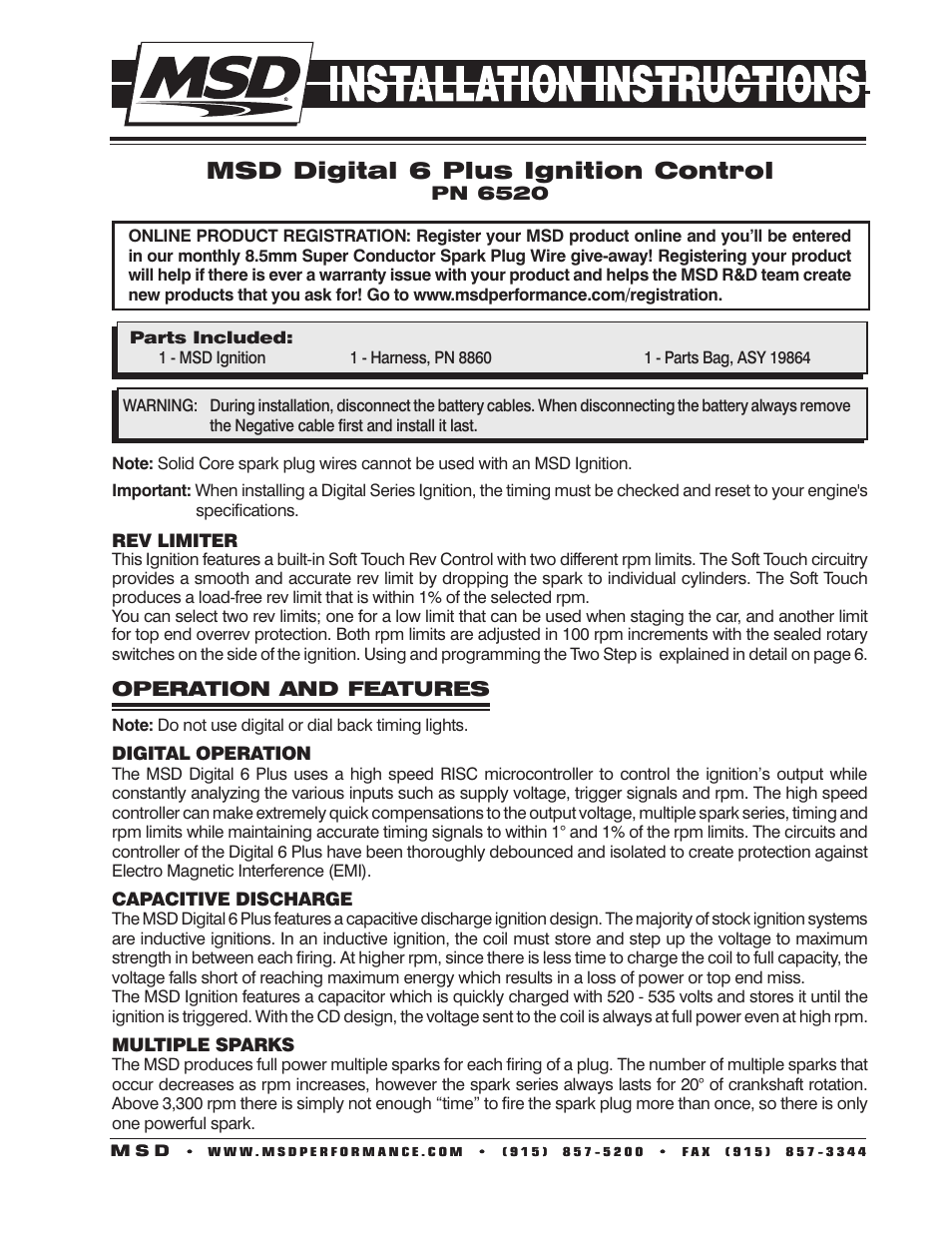 MSD 6520 Digital 6-Plus Ignition Control Installation User Manual | 24 pages