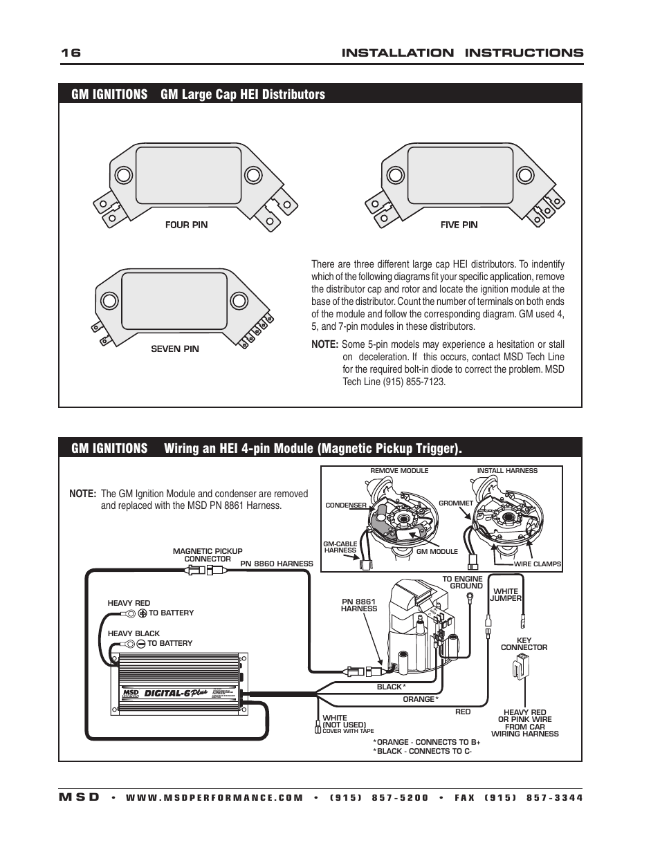Gm ignitions gm large cap hei distributors, 16 installation instructions m  s d | MSD 6520 Digital 6-Plus Ignition Control Installation User Manual |  Page 16 ...