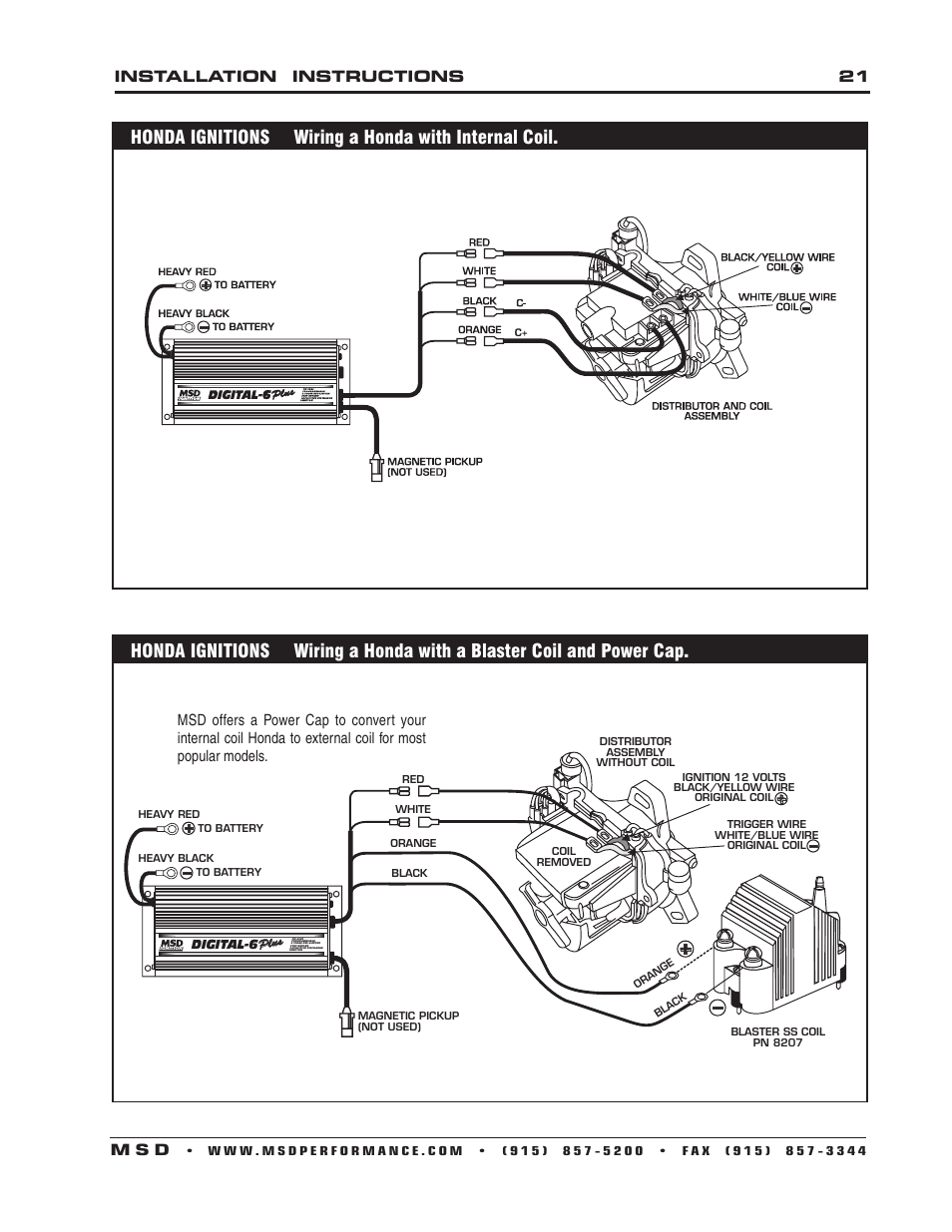 Installation    instructions 21    m s d         MSD    6520 Digital 6Plus Ignition Control    Installation    User