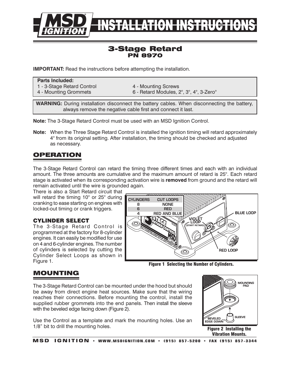 msd 8970 three stage retard control installation user manual 8 pages HEI Distributor Diagram