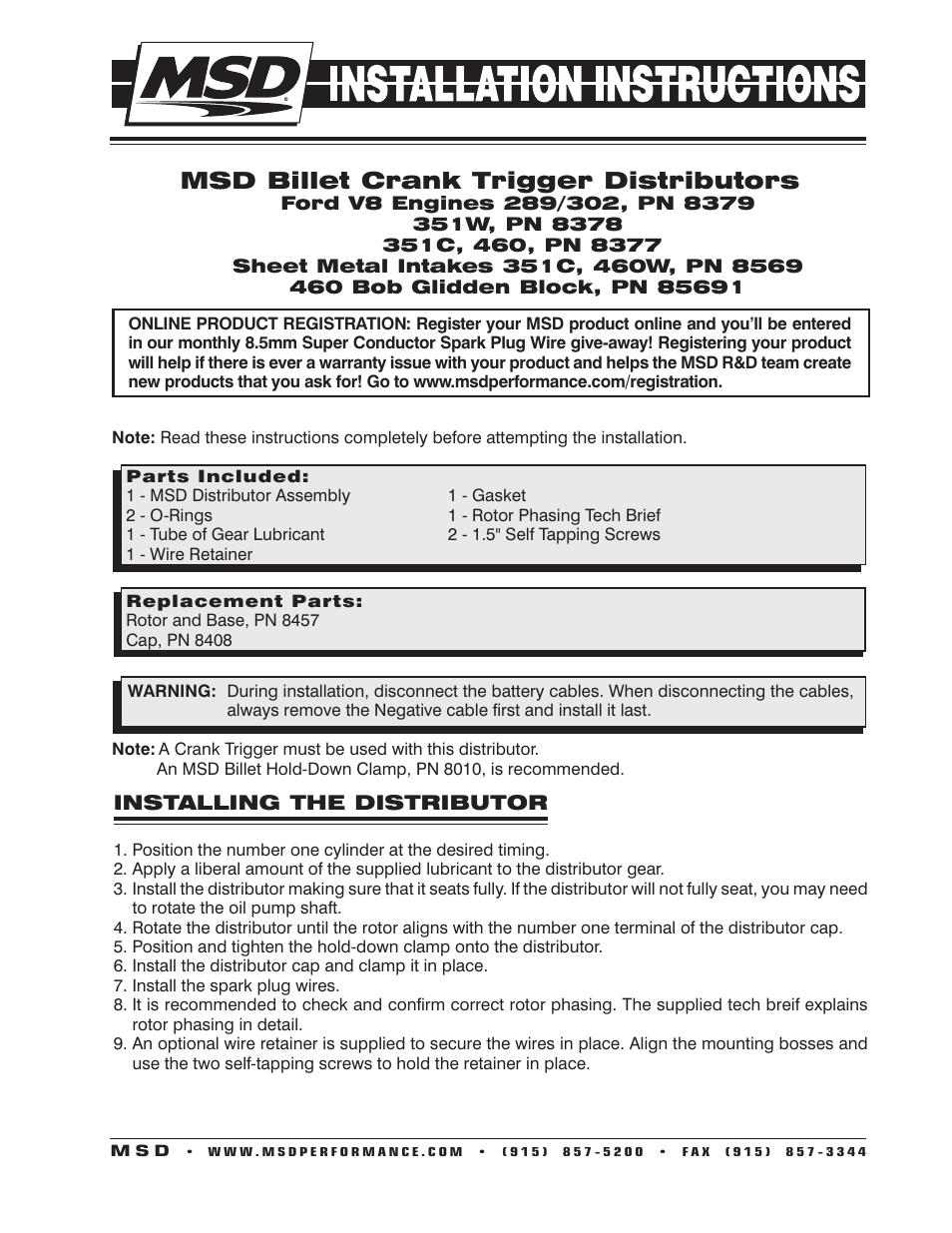 MSD 8569 Billet Crank Trigger Distributor