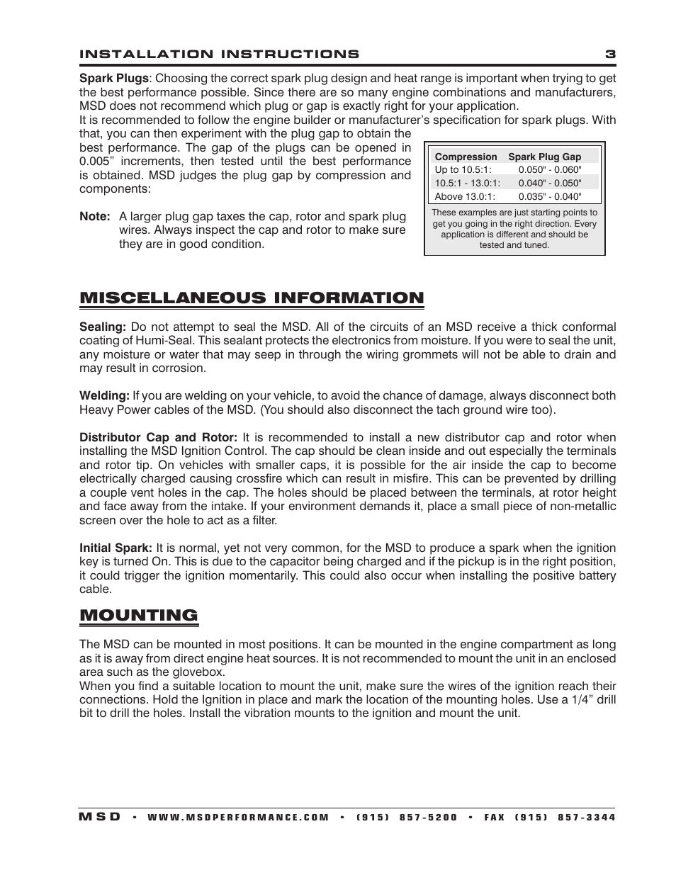 Miscellaneous information, Mounting | MSD 7222 7AL-2 Ignition ...