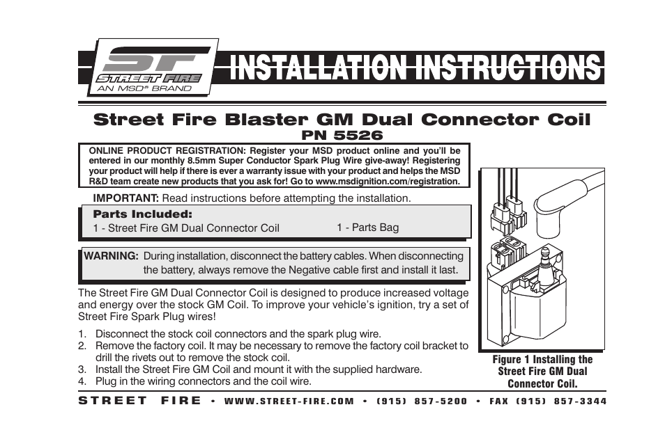 msd 5526 gm dual connector coil street fire installation page1 msd 5526 gm dual connector coil, street fire installation user firecom intercom wiring diagrams at gsmx.co