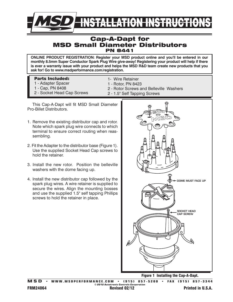 MSD 8441 Cap-A-Dapt for Small Diameter MSD Distributors Installation ...