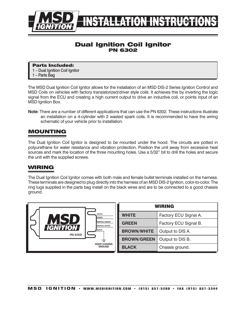 msd 6302 dis dual coil ignitor, 2 channel installation user manual | 2 pages
