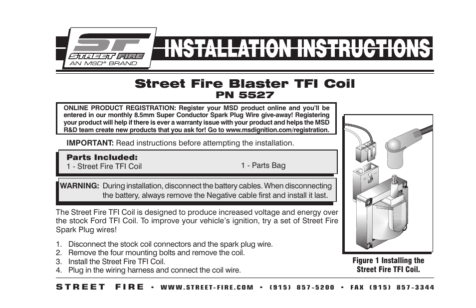 MSD 5527 Ford TFI Coil, Street Fire Installation User Manual