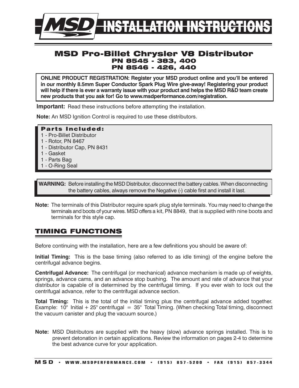 Msd 8546 Chrysler 426 440 Pro Billet Distributor