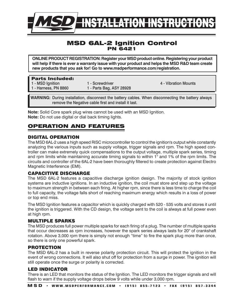 msd 6421 6al 2 ignition control installation page1 msd 6421 6al 2 ignition control installation user manual 28 pages msd 6al2 wiring diagram at reclaimingppi.co