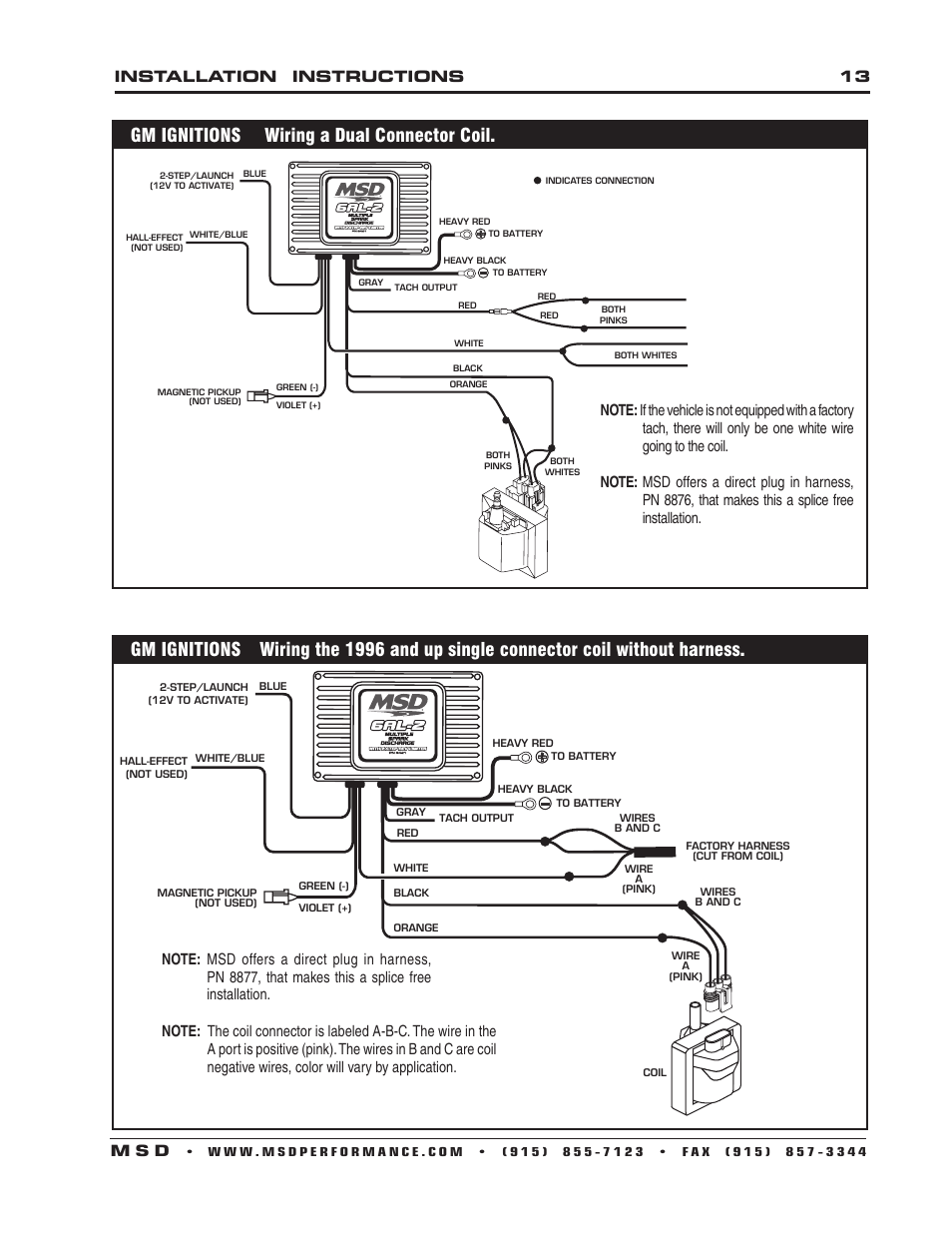 Gm Ignitions Wiring A Dual Connector Coil  Installation Instructions 13 M S D