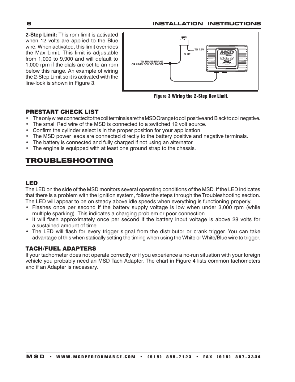Troubleshooting Msd 6421 6al 2 Ignition Control Installation User Wiring Instructions Example Manual Page 6 28