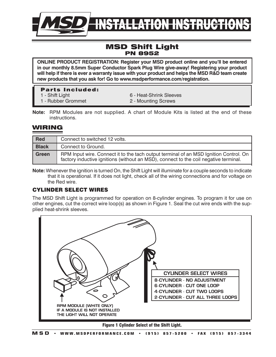Msd 8952 Led Shift Light Installation User Manual 4 Pages Ignition Wiring For 2 Cylinder Engine
