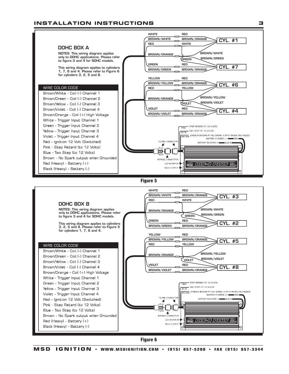 Cyl 1 7 6 4 Dohc Box A 3 2 5 Msd Dis Wiring Diagram 8 88813 Harness Ford 46l Modular To Ignition Control Installation User Manual Page