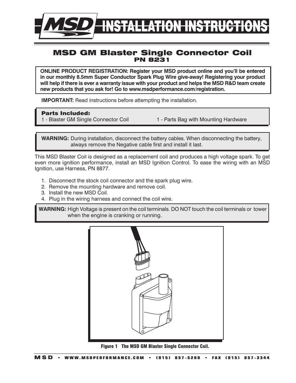MSD 8231 GM '96-'97 External Single Connector Coil