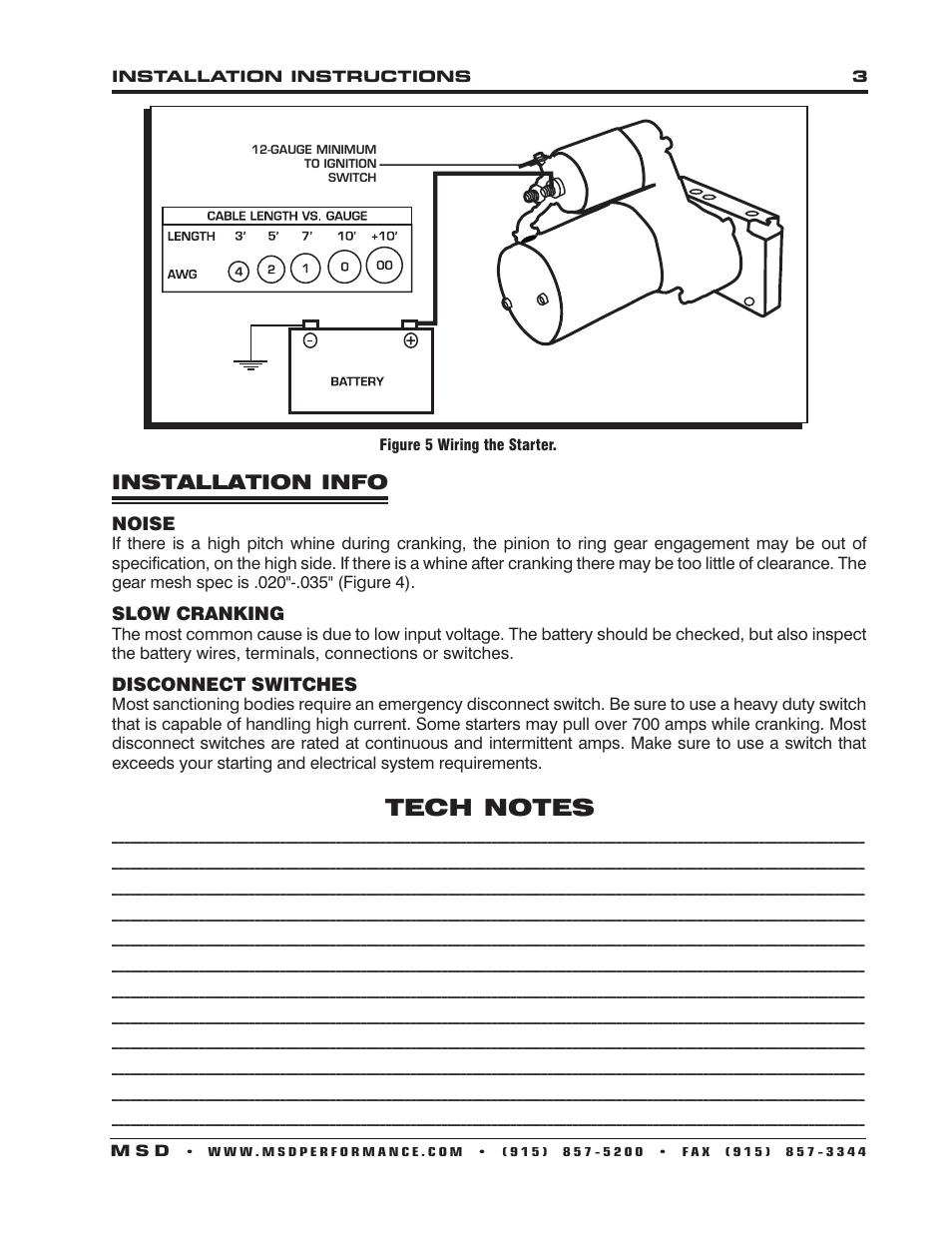 installation info | msd 5096 dynaforce starter, gm ls1-ls7 engines  installation user manual | page 3 / 4