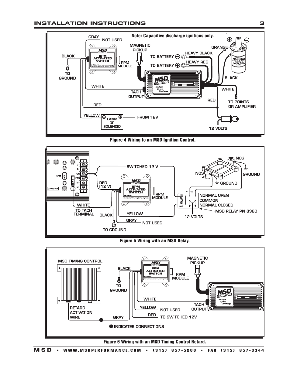 MSD    8950 RPM Activated Switch    Installation    User Manual   Page 3  4