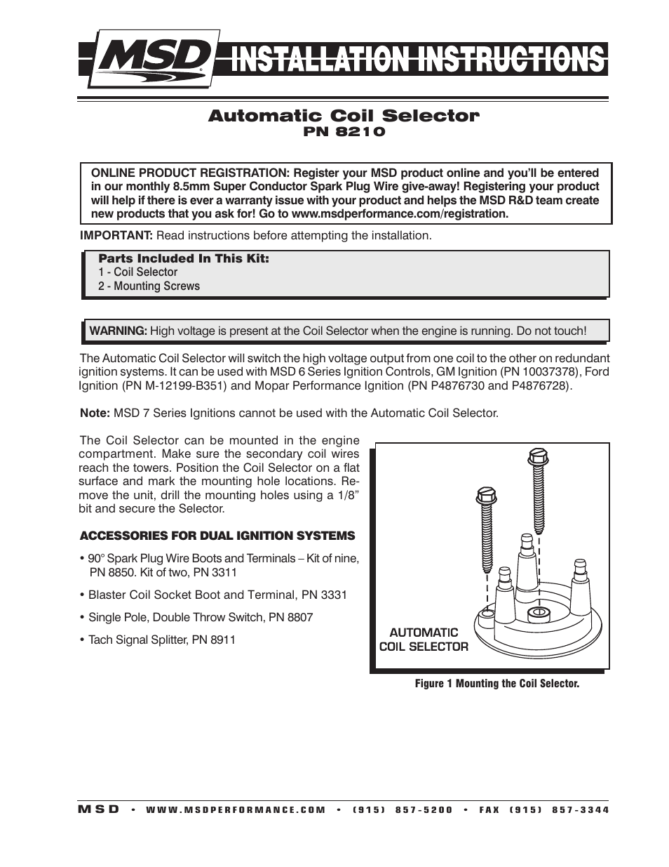 Msd 8210 Automatic Coil Selector Installation User Manual