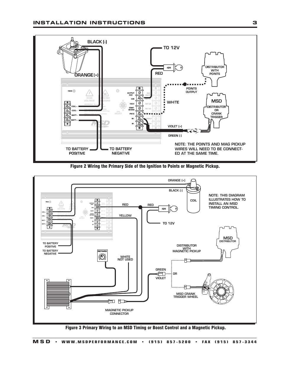 Installation    instructions 3 m s d   MSD 7330 7AL3 Ignition Control    Installation    User Manual