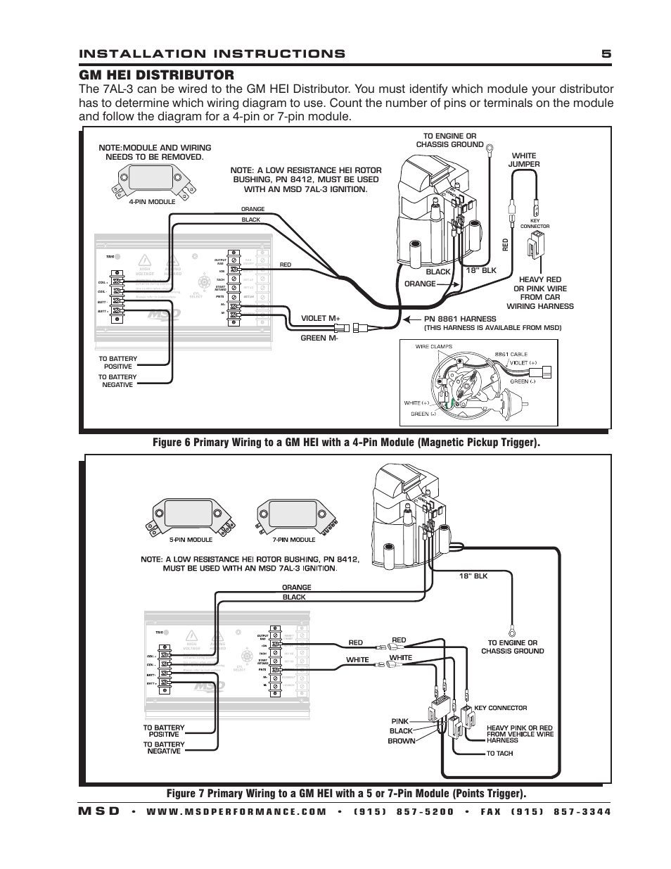 msd 6201 ignition wiring diagram gm hei distributor installation instructions 5 m s d #6