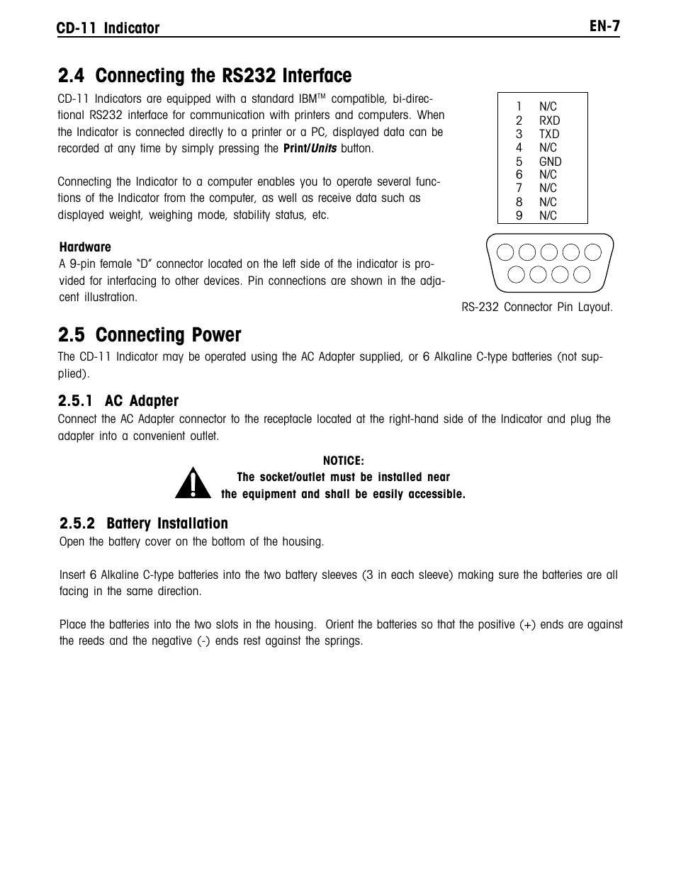 4 Connecting The Rs232 Interface 5 Power En 7 Cd 11 Multiple Electrical Receptacles On Same Circuit Are Connected In Indicator Ohaus Manual Multi User Page 13 120