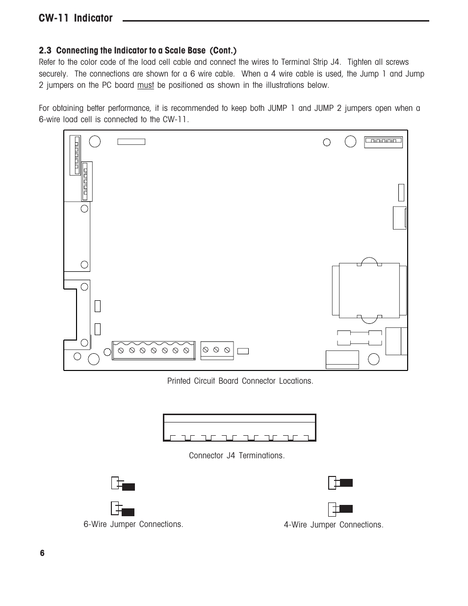 Cw 11 Indicator 3 Connecting The To A Scale Base Cont 4 Wire Load Cell Wiring Diagram Connector J4 Terminations Ohaus User Manual Page 9 37