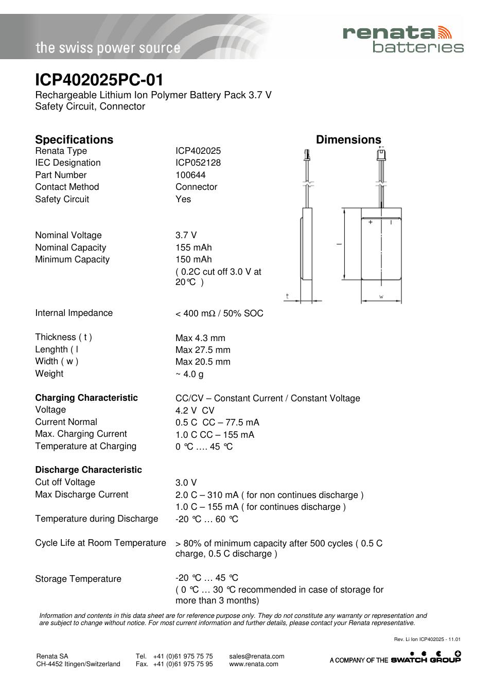 Renata SA ICP402025PC-01 User Manual | 1 page