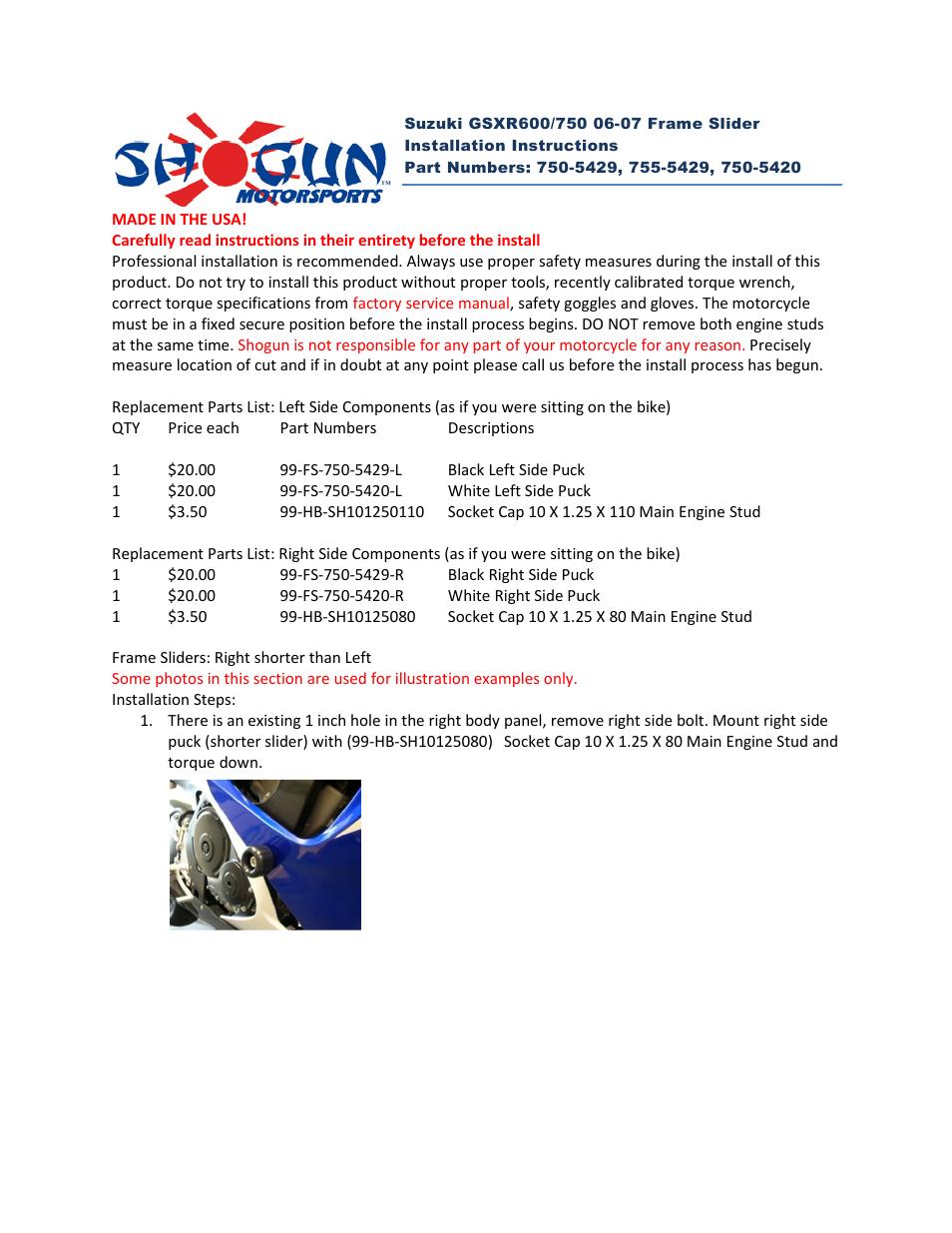 Shogun Motorsports Suzuki GSXR600_750 (06-07) Frame Slider User ...