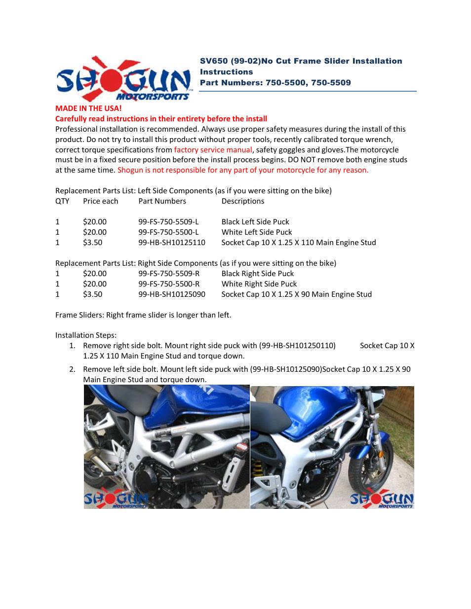 Shogun Motorsports Suzuki SV650 (99-02) NO CUT Frame Slider User ...