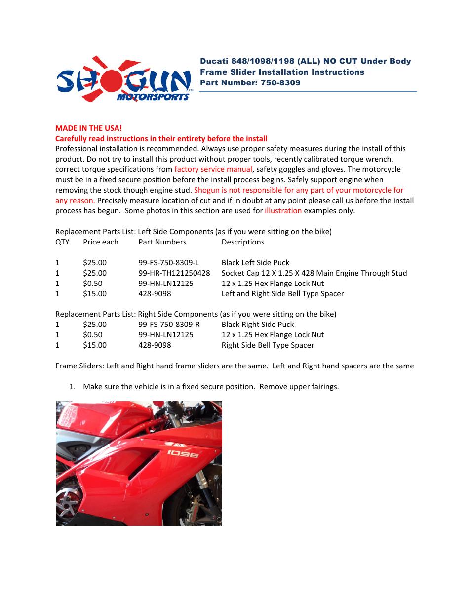 shogun motorsports ducati super bike 848  1098  1198  all  no cut under body frame slider user ducati 1198 service manual pdf ducati 1198 workshop manual