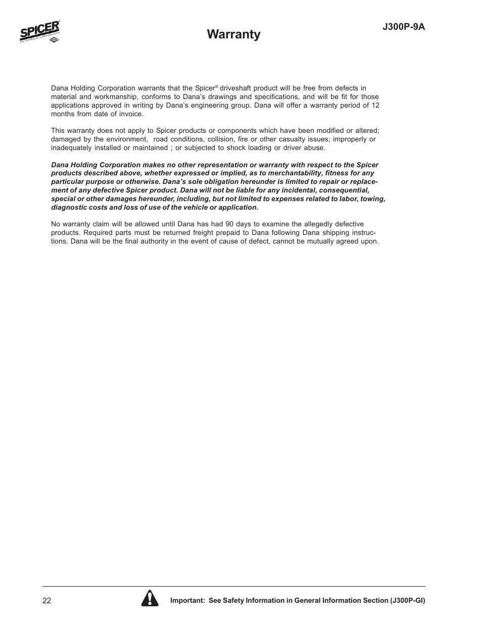 Warranty | Spicer Driveline Components Catalog: Center Bearings User