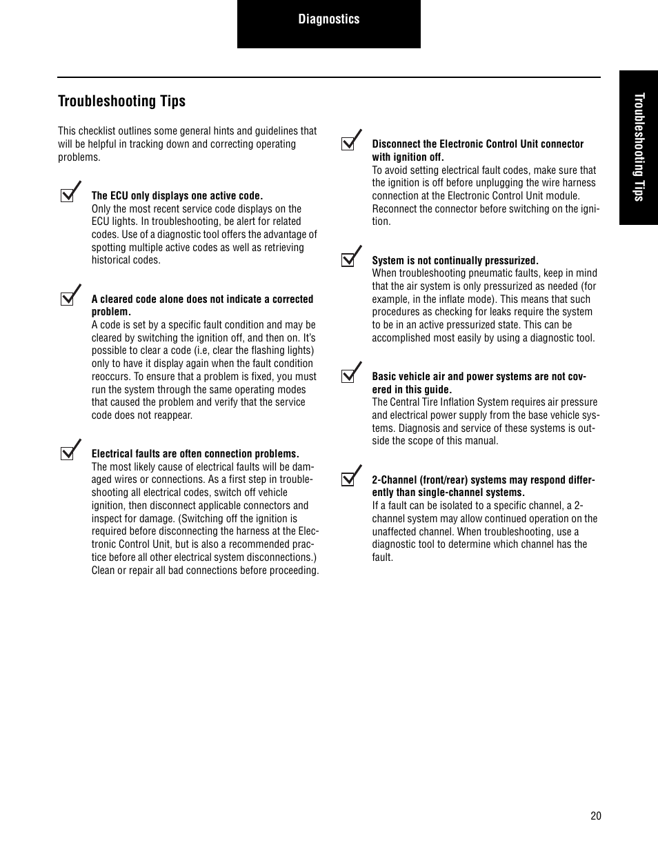 Troubleshooting tips | Spicer CTIS (Central Tire Inflation System)  Troubleshooting Guide User Manual | Page 23 / 72