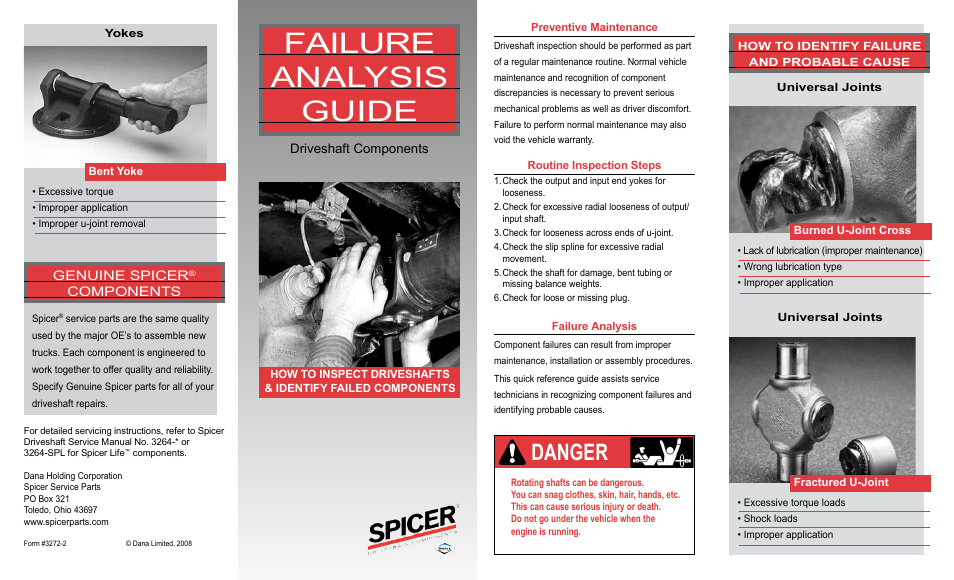 Spicer Failure Analysis Guide User Manual | 2 pages