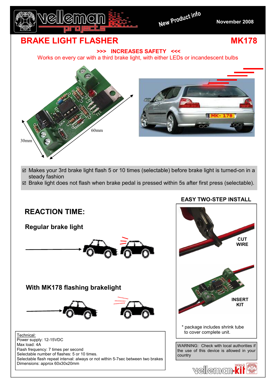 Velleman projects MK178 Datasheet User Manual   1 page