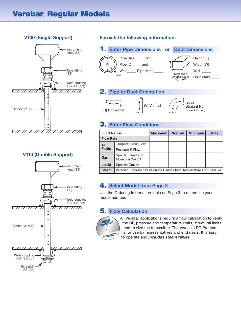Verabar, Regular models, Flow calculation | Veris Verabar V110 Spec