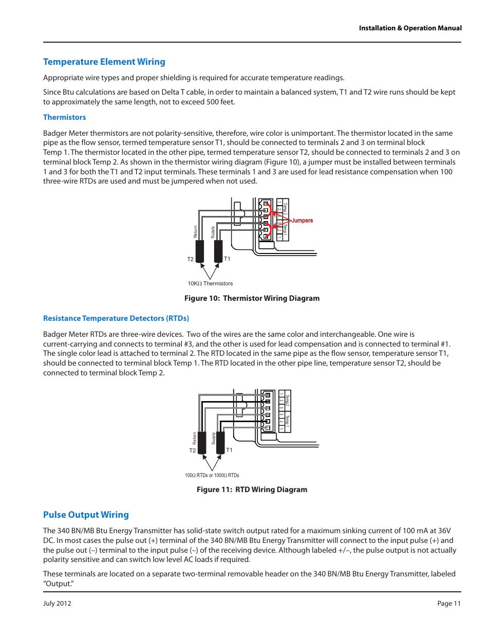 Temperature element wiring, Thermistors, Resistance temperature detectors  (rtds) | Badger Meter 340 BN/MB Btu Energy Transmitter User Manual | Page  11 / 28