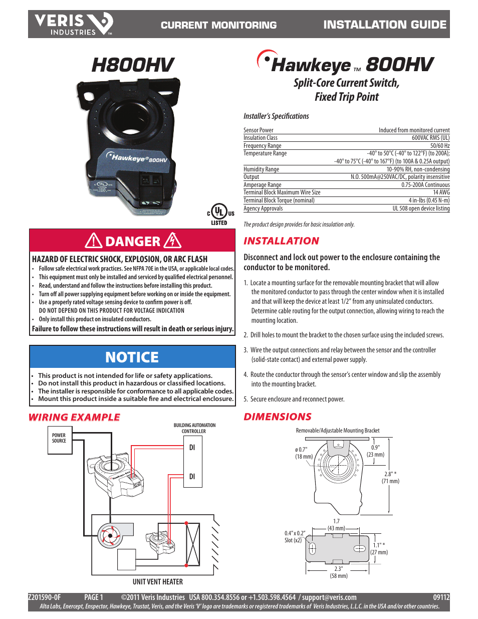 Veris Industries H800HV Install User Manual 2 pages