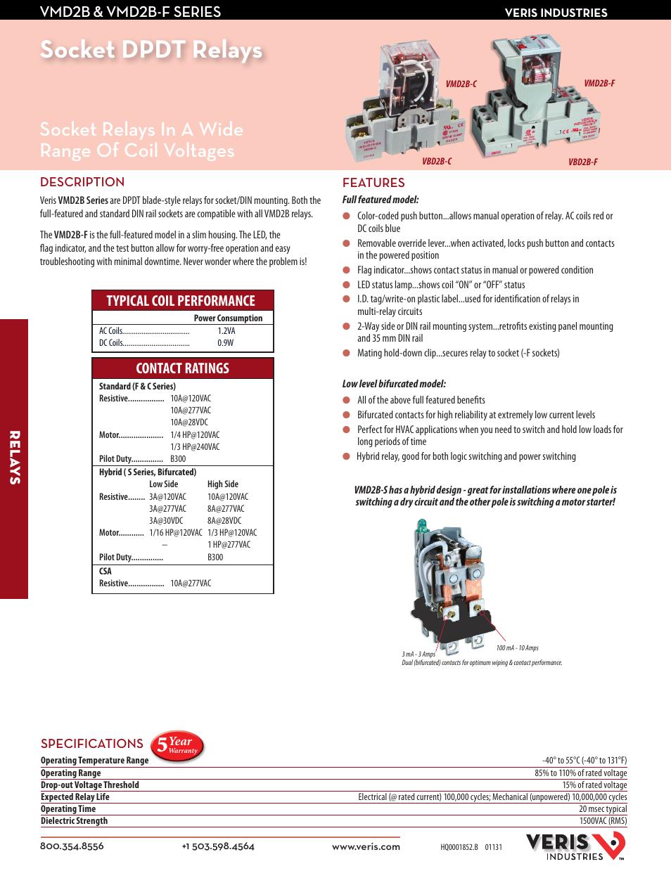 Veris Industries VMD2B-F SERIES Datasheet User Manual | 2 pages
