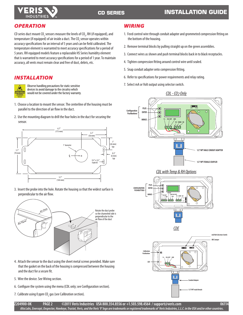 Installation Guide Wiring Veris Industries Cd Surface Conduit Series Install User Manual Page 2 5